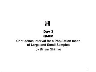 Day 3 QMIM Confidence Interval for a Population mean of Large and Small Samples by Binam Ghimire