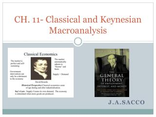 CH. 11- Classical and Keynesian  Macroanalysis