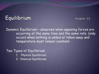 Equilibrium   Chapter 13