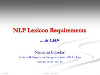 NLP  Lexicon Requirements