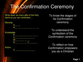 The Confirmation Ceremony