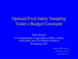 Optimal Food Safety Sampling Under a Budget Constraint