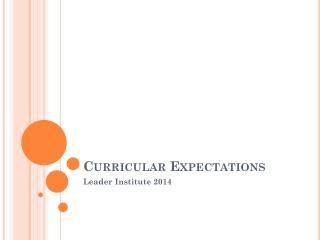 Curricular Expectations