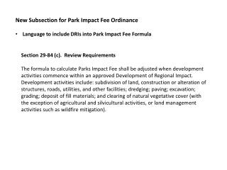 New Subsection for Park Impact Fee Ordinance