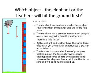 Which object - the elephant or the feather - will hit the ground first?