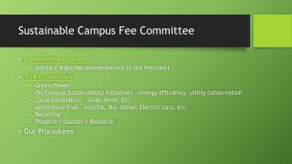 Sustainable Campus Fee Committee