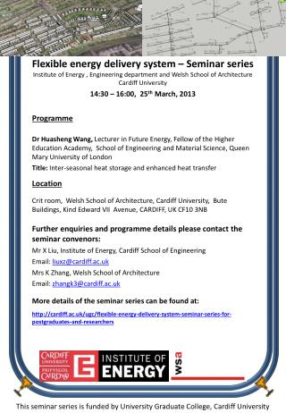 This seminar series is funded by University Graduate College, Cardiff University
