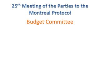 25 th  Meeting of the Parties to the Montreal Protocol