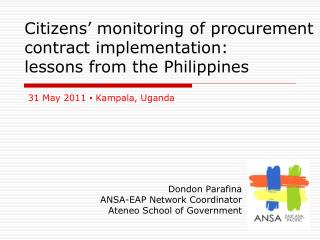 Citizens' monitoring  of  procurement contract implementation:  lessons from the Philippines