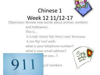 Chinese 1 Week 12 11/12-17