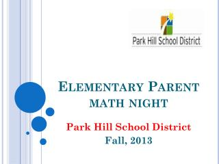 Elementary Parent math night