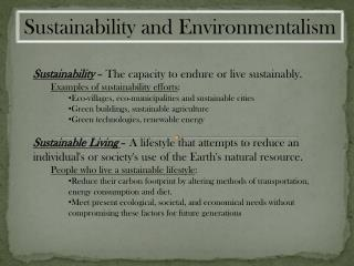 Sustainability and Environmentalism