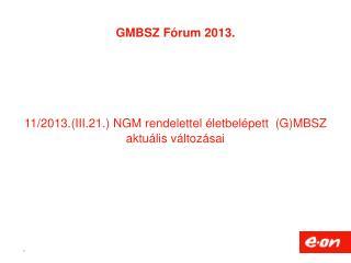 GMBSZ Fórum 2013.  11/2013.(III.21.) NGM rendelettel életbelépett  (G)MBSZ aktuális változásai