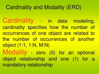 Cardinality and Modality ERD