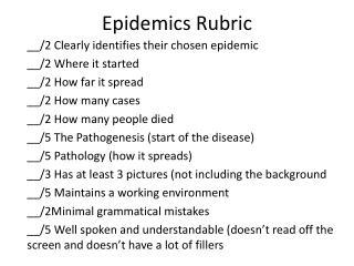 Epidemics Rubric
