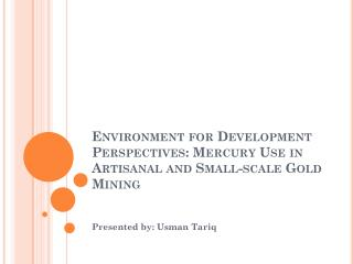 Environment for Development Perspectives: Mercury Use in Artisanal and Small-scale Gold Mining