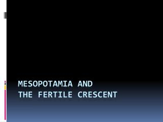 Mesopotamia and  the Fertile Crescent