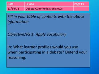 Fill in your table of contents with the above information Objective/PS 1: Apply voc abulary