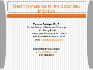 Teaching Materials for the Secondary MIDI Lab