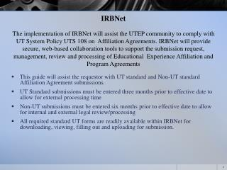 IRBNet Initial Submission Training Tool