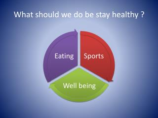 What should  we do be  stay healthy  ?