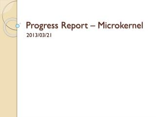 Progress Report – Microkernel