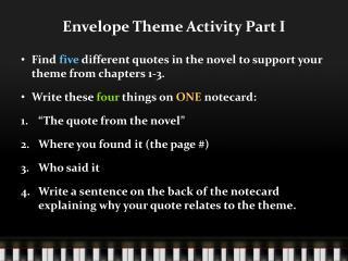 Envelope Theme Activity Part I