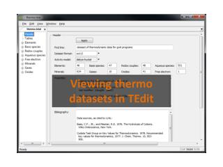 Viewing thermo datasets in  TEdit