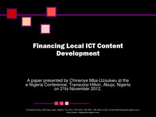 Financing Local ICT Content Development