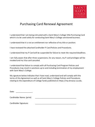 Purchasing Card Renewal Agreement