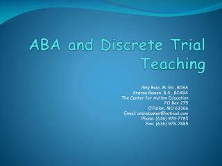 ABA and Discrete Trial Teaching