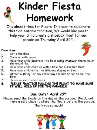 Kinder Fiesta Homework