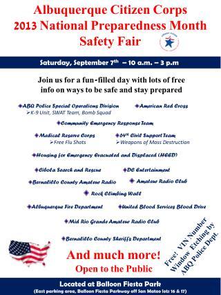 Albuquerque Citizen Corps 2013 National Preparedness Month Safety Fair
