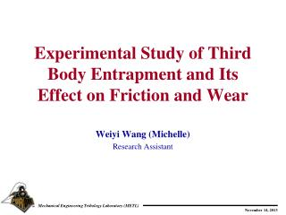 Experimental Study of Third Body Entrapment and Its Effect on Friction and Wear
