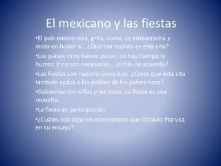 El  mexicano  y  las  fiestas