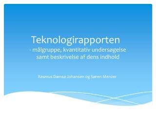 Teknologirapporten - målgruppe, kvantitativ undersøgelse samt beskrivelse af dens indhold