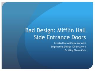 Bad Design: Mifflin Hall Side Entrance Doors