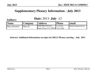 Supplementary Plenary Information - July 2013
