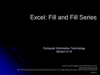 Excel: Fill and Fill Series