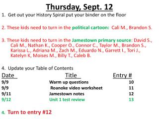 Thursday ,  Sept.  12