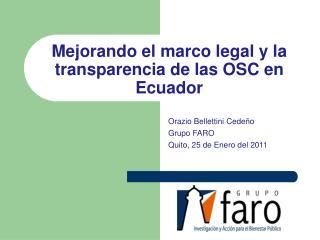 Mejorando  el  marco  legal y la  transparencia  de  las  OSC en Ecuador