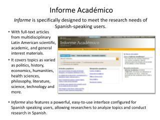 Informe Acad�mico