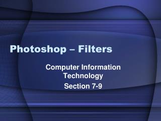 Photoshop – Filters