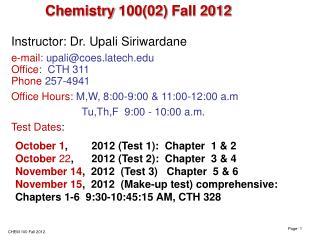 Chemistry  100(02)  Fall  2012