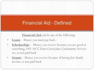 Financial Aid - Defined