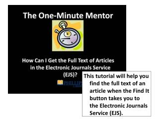 Thanks for using the One-Minute Mentor tutorial series!