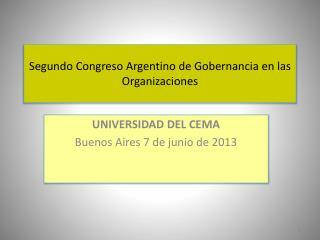 Segundo Congreso Argentino de  Gobernancia  en las Organizaciones