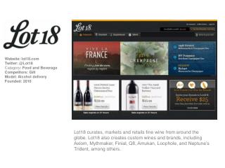Website :  lot18   Twitter : @Lot18 Category : Food and Beverage Competitors: Gilt