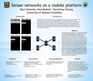 Sensor networks on a mobile platform