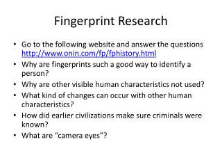 Fingerprint Research